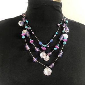 Christopher & Banks Multi Strand Silver Necklace